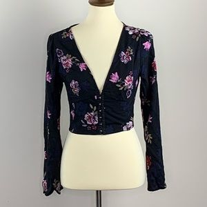 NWT Wild Fable Floral Long Sleeve Corset Crop S